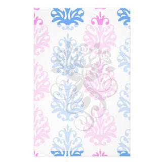 pink blue white damask stationery paper