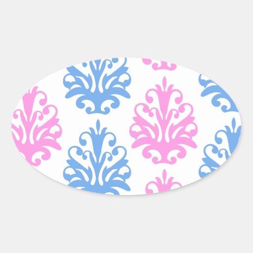 pink blue white damask stickers