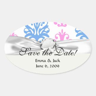 pink blue white damask oval sticker