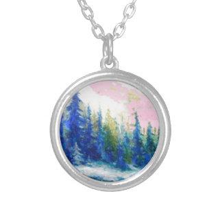 Pink-Blue Winter Forest Landscape Round Pendant Necklace