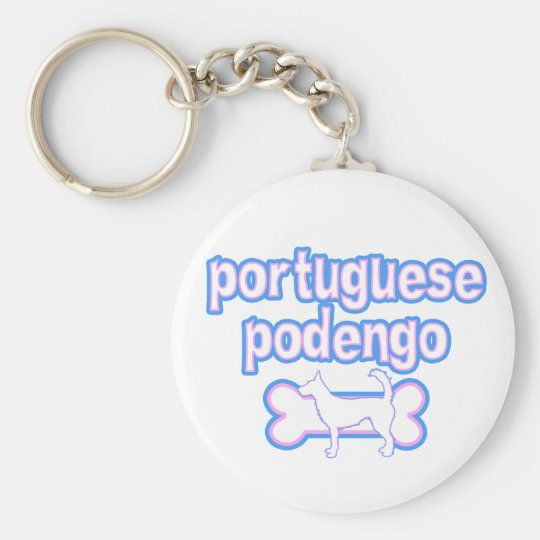 Pink & Blue Wire Portuguese Podengo Keychain