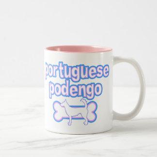 Pink Blue Wire Portuguese Podengo Mug