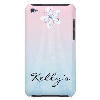 Pink Blue with Flowers iPod Touch Case