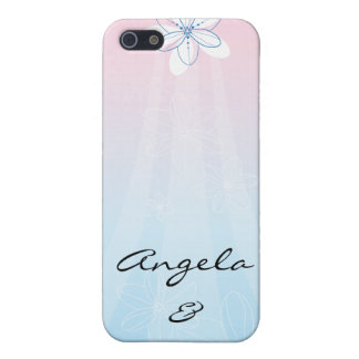 Pink & Blue with Flowers Cover For iPhone 5/5S