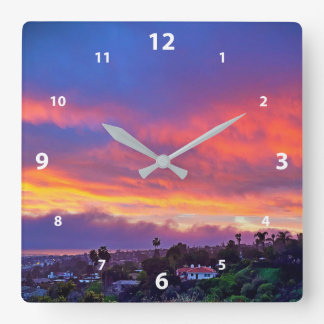 Pink, blue, yellow and orange clouds sunrise photo square wall clock