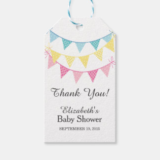 pink blue yellow bunting baby shower thank you