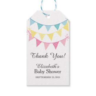 Pink, Blue & Yellow Bunting Baby Shower Thank You