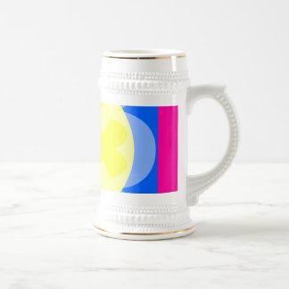 pink blue yellow flower mugs