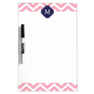 Pink & Blue Zigzags Pattern Monogram Dry Erase Board