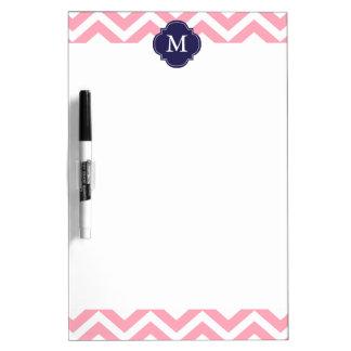 Pink & Blue Zigzags Pattern Monogram Dry Erase Board