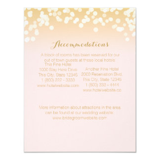 Pink Blush and Gold Sparkle Information Card 11 Cm X 14 Cm Invitation Card