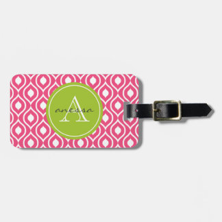 Pink Blush and Green Apple Gail Print Luggage Tag