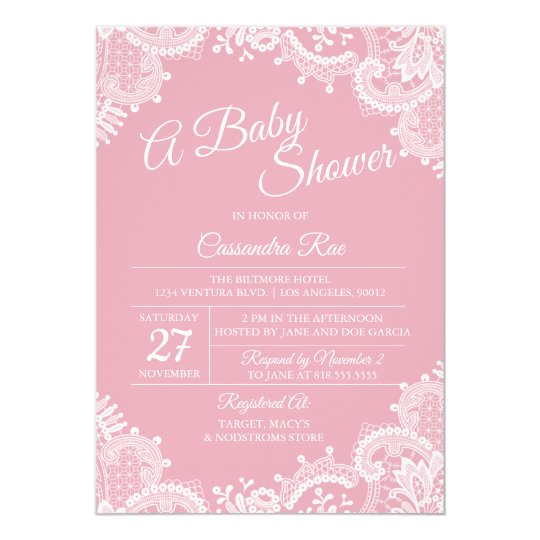 Pink Blush and Lace Baby Shower Invitation