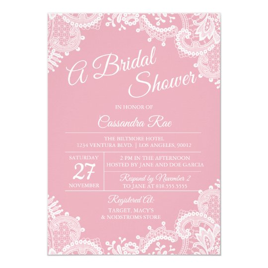 Pink Blush and Lace Bridal Shower Invitation