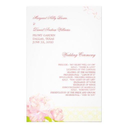 Pink Blush Blossoms Boho Wedding Ceremony Programs Custom Flyer