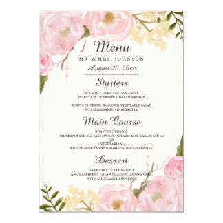 Pink Blush Botanical Floral Wedding Dinner Menu Card