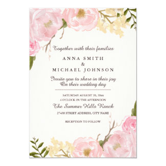 Pink Blush Botanical Floral Wedding Invitation