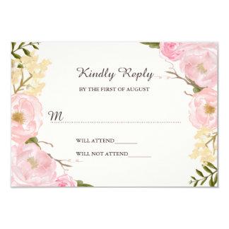 Pink Blush Botanical Floral Wedding RSVP 9 Cm X 13 Cm Invitation Card