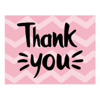 Pink & Blush Chevron Stripes Black Thank You Party Postcard