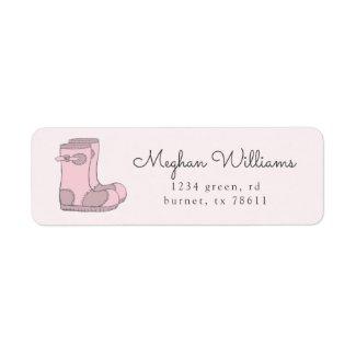 pink blush cute rain boots return address