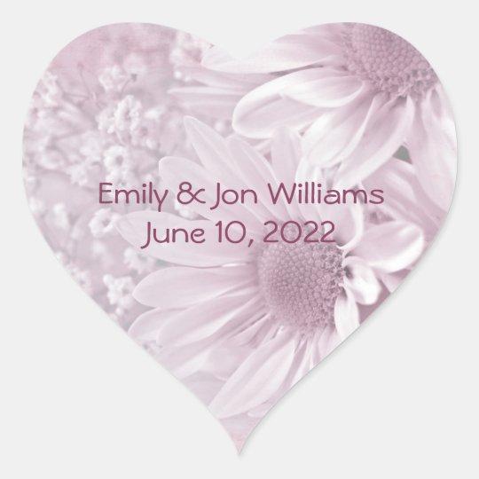 pink blush daisy bouquet heart sticker