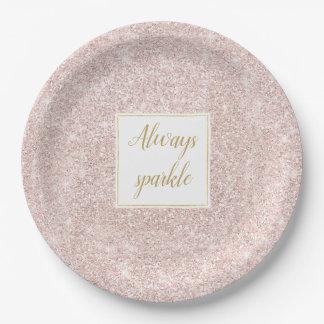 Pink Blush Faux Glitter Sparkle Paper Plate