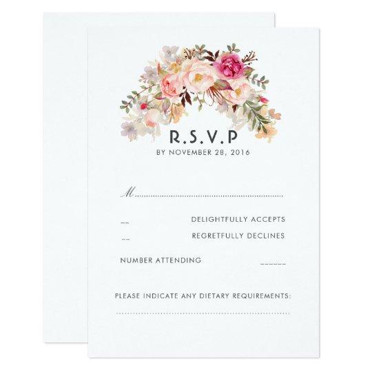 Pink Blush Floral Wedding RSVP Card