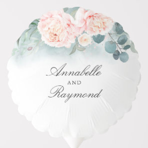 Pink Blush Flowers and Greenery Elegant Balloon