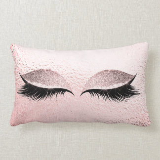 Pink Blush Glitter Black Lashes Glam Make Up Gray Lumbar Cushion