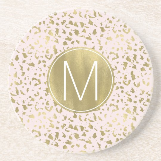 Pink Blush Gold Animal Print Coaster