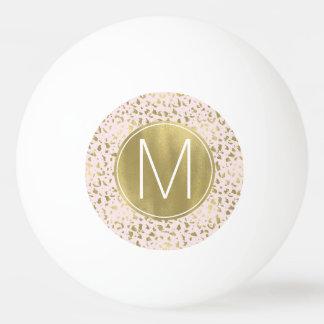 Pink Blush Gold Animal Print Monogram Ping Pong Ball