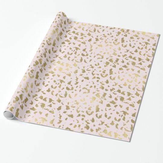 Pink Blush Gold Animal Print Wrapping Paper
