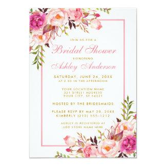 Pink Blush Gold Floral Bridal Shower Invitation PS