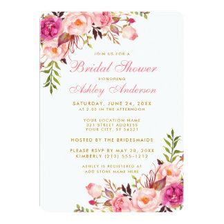 Pink Blush Gold Floral Bridal Shower Invitation RP