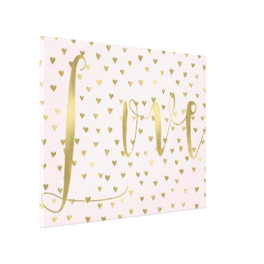 Pink Blush Gold Hearts Love Canvas Print
