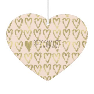 Pink Blush Gold Hearts Personalised Car Air Freshener