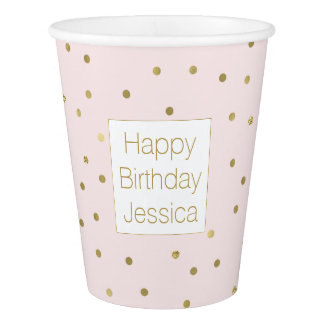 Pink Blush Gold Sparkle Confetti Birthday Paper Cup