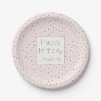 Pink Blush Gold Sparkle Confetti Birthday Paper Plate