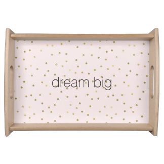 Pink Blush Gold Sparkle Confetti Inspirational Serving Tray