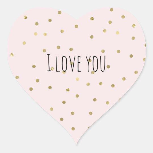 Pink Blush Gold Sparkle Confetti Love Heart Sticker