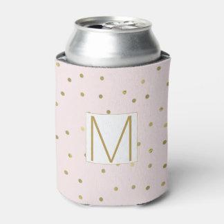 Pink Blush Gold Sparkle Confetti Monogram Can Cooler