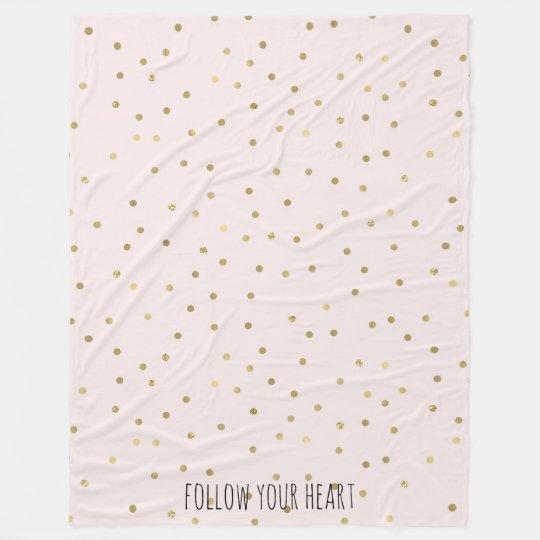 Pink Blush Gold Sparkle Confetti Personalised Fleece Blanket