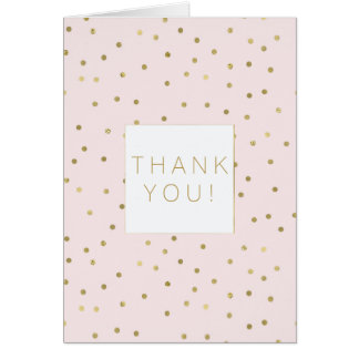 Pink Blush Gold Sparkle Confetti Stylish thank you Card