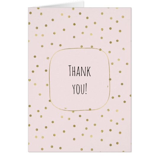 Pink Blush Gold Sparkle Confetti thank you Card