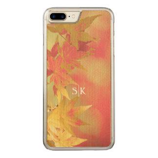 Pink Blush Golden Autumn Maple Leaf Monogram Carved iPhone 8 Plus/7 Plus Case