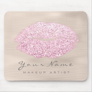 Pink Blush Ivory Glitter Name Makeup Lips Kiss Mouse Mat