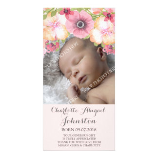 Pink Blush Pastel Flowers Thank You Shower Custom Photo Card