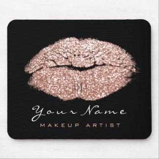 Pink Blush Rose Glitter Name Makeup Lips Kiss Mouse Mat