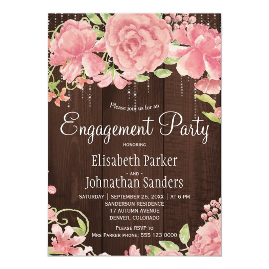 Pink blush rose peonies rustic engagement party card