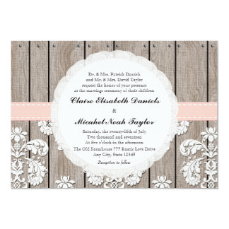 Pink Blush Rustic Wood Lace Wedding Invitations